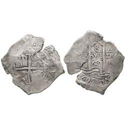 Potosi, Bolivia, cob 8 reales, 1669E, 2 bold dates on pillars side (rare thus).