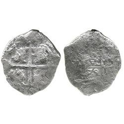 Potosi, Bolivia, cob 4 reales, 1679(V), encapsulated ANACS G 4, with name of wreck stated in slab.