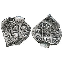 Potosi, Bolivia, cob 2 reales, 1692VR, extremely rare provenance.