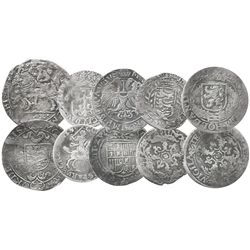 Lot of 5 Dutch small-denomination coins (schellings and stuivers), various mints and dates.