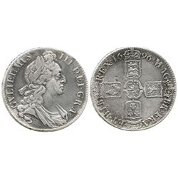 London, England, crown, William III (first bust), 1696.