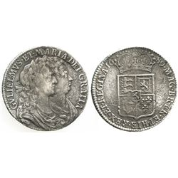 London, England, 1/2 crown, William III and Mary II, 1689, first reverse, rare.