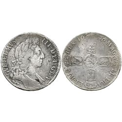 London, England, 1/2 crown, William III, 1696, small shields.