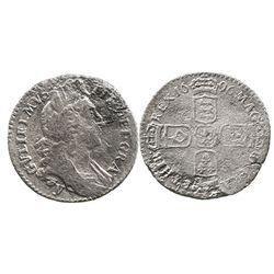 York, England, sixpence, William III, 1696-y.
