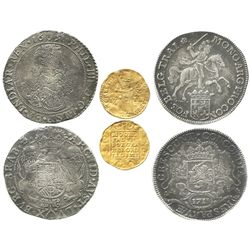 Set of 3 Dutch coins in promotional case: one gold ducat 1711 Utrecht, one portrait ducatoon 1651 Br