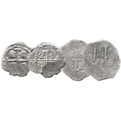 Lot of 2 Potosi, Bolivia, cob 2 reales: 1670E; and Philip V assayer Y (date not visible).