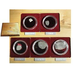 Complete Mexico City, Mexico, silver denomination set of 8-4-2-1-1/2 reales (5 coins), all Philip V,