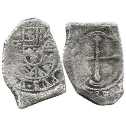 Mexico City, Mexico, cob 8 reales, Philip V, assayer not visible (style of L, 1702-1705).