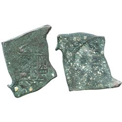 """Mexico City, Mexico, cob 8 reales, Philip V, assayer not visible,  uncleaned """"greenie"""" (encrusted wi"""