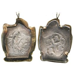 Mexico City, Mexico, cob 4 reales, Philip V, assayer not visible, mounted in 18K(?) gold pendant.