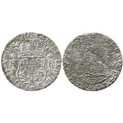 Mexico City, Mexico, pillar 8 reales, 1732F, very rare first year of series.