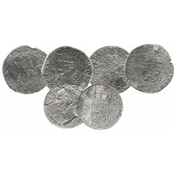 Lot of 3 Dutch silver coins, including two rijksdalers (one dated 1622) from this wreck but also one