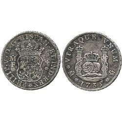 Mexico City, Mexico, pillar 4 reales, Philip V, 1735MF.