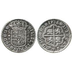 "Seville, Spain, milled 2 reales ""pistareen,"" Philip V, 1736AP, rare."