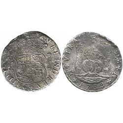 Mexico City, Mexico, pillar 8 reales, Philip V, 1739MF.