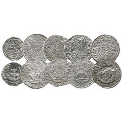 Lot of 5 Mexico City, Mexico, pillar minors of Philip V: 4R 1736MF, 1739MF, 1740MF and 1742MF; 2R 17