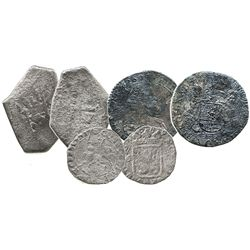 Mixed lot of 3 silver coins: Mexico cob 8R Philip V; Brussels 1/2 ducatoon 1633; and Campen 6 stuive