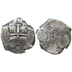 Potosi, Bolivia, cob 8 reales, 1725Y, (Louis I), scarce.