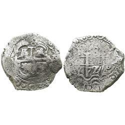 Potosi, Bolivia, cob 8 reales, 1727Y, (Louis I), scarce.