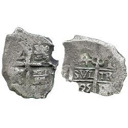 Potosi, Bolivia, cob 4 reales, 1725Y, (Louis I), very rare.