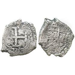 Potosi, Bolivia, cob 4 reales, 1733YA, very rare.