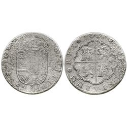 Madrid, Spain, milled 8 reales, Philip V, 1728JJ, rare type from this wreck.