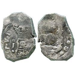 Guatemala, cob 4 reales, (17)38J.