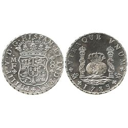 Mexico City, Mexico, pillar 8 reales, Philip V, 1739MF, choice specimen in promotional box.