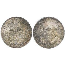 Mexico City, Mexico, pillar 8 reales, Philip V, 1741MF, encapsulated EF details / corroded.