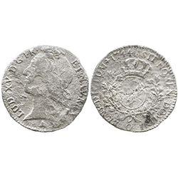France (Riom mint), 1/2 ecu, Louis XV, 1744-O.