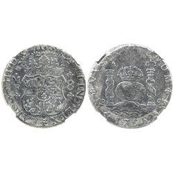 Mexico City, Mexico, pillar 8 reales, Charles III, 1766MF, encapsulated NGC EL CAZADOR / GENUINE, ra