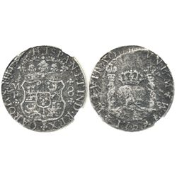Mexico City, Mexico, pillar 8 reales, Charles III, 1769MF, encapsulated NGC EL CAZADOR / GENUINE, ra