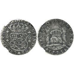 Lima, Peru, pillar 8 reales, Charles III, 1771JM, encapsulated NGC EL CAZADOR / GENUINE, rare as fro