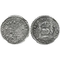 Guatemala, pillar 8 reales, Charles III, 1768P, encapsulated NGC EL CAZADOR / GENUINE, very rare as