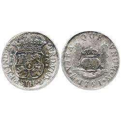 "Mexico City, Mexico, pillar 2 reales, Ferdinand VI, 1751M, encapsulated ANACS ""El Cazador SELECT."""