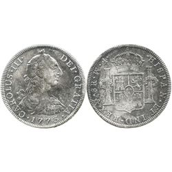 Mexico City, Mexico, bust 8 reales, Charles III, 1773FM, initials facing rim, scarce as from this wr