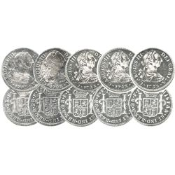Lot of 5 Mexico City, Mexico, bust 2 reales, Charles III, 1783FF, all choice condition.
