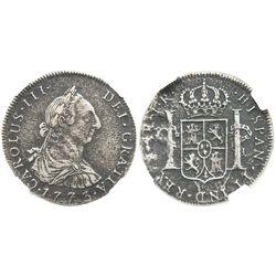 Potosi, Bolivia, bust 4 reales, Charles III, 1773JR, encapsulated NGC EL CAZADOR / GENUINE, very rar