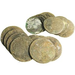 Broadly spread clump (as found) of 8 Spanish colonial bust 8R of Charles III (uncleaned).