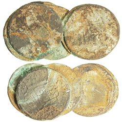 Spread-out clump of 6 Spanish colonial bust 2R of Charles III with encrustation all over (as found).