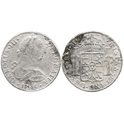 Mexico City, Mexico, bust 8 reales, Charles III, 1785FM.