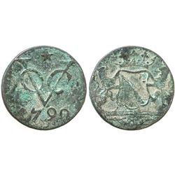 Utrecht, Dutch East India Co., copper duit, 1790, uncleaned, very rare provenance.