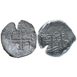 Potosi, Bolivia, cob 2 reales, 1659E, encapsulated NGC genuine, with name of wreck in slab.