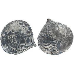 Potosi, Bolivia, cob 2 reales, 1666E, encapsulated NGC genuine, with name of wreck in slab.