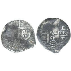 Potosi, Bolivia, cob 2 reales, 1668E, encapsulated NGC genuine, with name of wreck in slab.