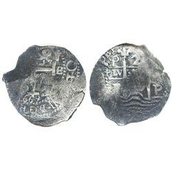 Potosi, Bolivia, cob 2 reales, 1669E, encapsulated NGC genuine, with name of wreck in slab.