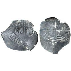 Potosi, Bolivia, cob 2 reales, 1671E, encapsulated NGC genuine, with name of wreck in slab.