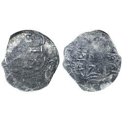 Potosi, Bolivia, cob 2 reales, 1671/0E, encapsulated NGC genuine, with name of wreck in slab.