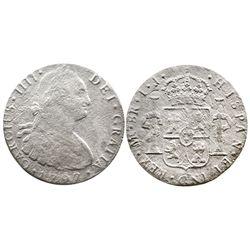 Lima, Peru, bust 8 reales, Charles IV, 1797IJ.