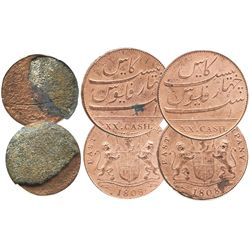 Lot of 3 English East India Co. copper coins of 1808: two XX cash and one X cash with encrustation.